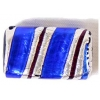 Glass Lamp Bead 22x14mm Rectangle Cobalt Blue/Silver